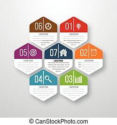 infographics, siete, vector, ilustración, hexágonos