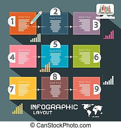 Infographics Template. Paper Vector Infographic Layout with Graphs and Arrows.