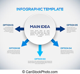 Infographics template with arrows and 3D circle. vector illustration
