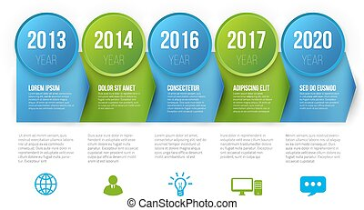 Infographics timeline vector template 5 steps