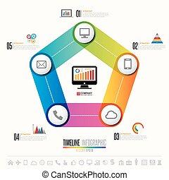 infographics, vastgesteld ontwerp, mal, iconen