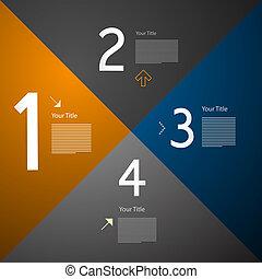 infographics, vecteur, étapes, progrès, travaux pratiques