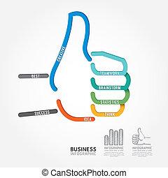 infographics vector hand good sign design diagram line style tem