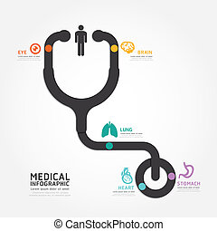 infographics vector medical design stethoscope diagram line styl