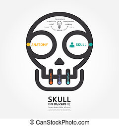 infographics vector skull and brain design diagram line style te