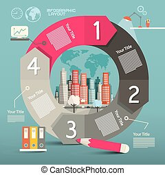Infographics Vector Template - Layout with City
