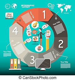 Infographics Vector Template - Layout with World Map, Business Man, Icons and Folders