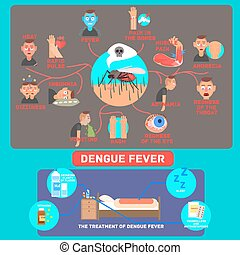 infographics., vektor, dengue, illustration., feber