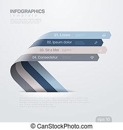 infographics, vektor, design, arrows., template., geschenkband