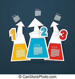 infographics, vektor, schritte, fortschritt, tutorenkurs