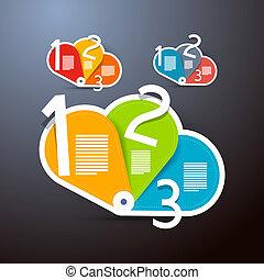 infographics, vektor, steg, framsteg, handledning