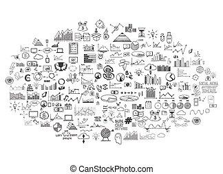 infographics, verzameling, hand, getrokken, doodle, schets, zakelijk, ecomomic, financiën, communie