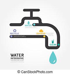 infographics, vetorial, água, desenho, diagrama, linha, estilo, modelo