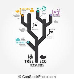 infographics, vetorial, árvore, desenho, diagrama, linha, estilo, modelo