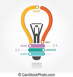 infographics, vetorial, lightbulb, desenho, diagrama, linha, estilo, modelo