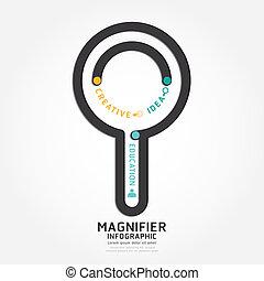 infographics, vetorial, magnifier, desenho, diagrama, linha, estilo, modelo