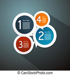 infographics, vettore, passi, progresso, lezione