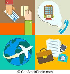 infographics, viaggiare, set, icone affari