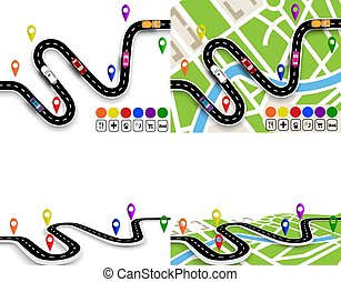 Infographics. View from above and in perspective. Set of winding roads with signs. Maps of the city. Movement of vehicles. The path is specified by the navigator. illustration