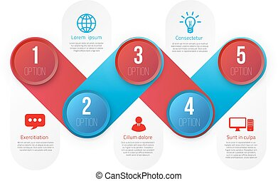 Infographics with 5 steps or options blue and red