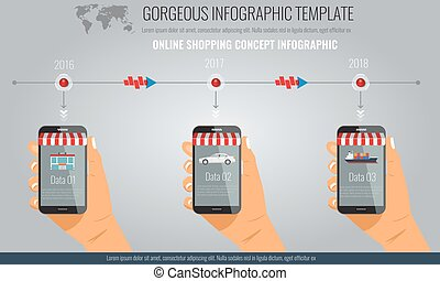 Infographics with elements hand holding smartphones in 3 steps.