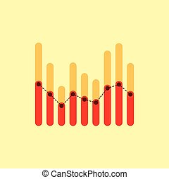 Infographics with red and yellow overlapping bars and dotted center line graph