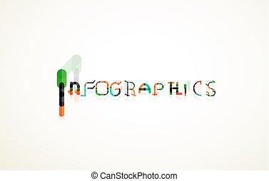 Infographics word font concept, minimal line design