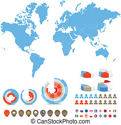 countries and diagrams - Infographics. World map, flags of ...