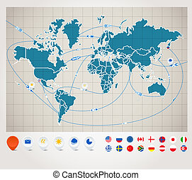 Infographics. World map with ship tracking - Infographics....