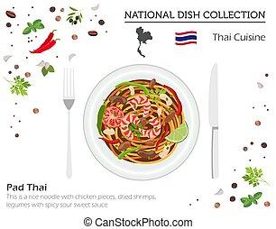 infograpic, cuisine., パッド, 白, 隔離された, collection., タイ人, 皿, 国民, アジア人