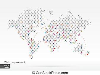 infogrophics, mappa mondo, stilizzato, concetto