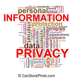 infomation, etiquetas, palavra, privacidade