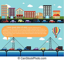 Inforgraphic city scene with roads