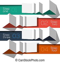 információs anyag, grafikus, modern, tervezés, sablon, címzett, origami