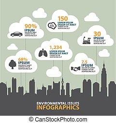 információs anyag, iparág, grafikus, ökológia, város, vektor, szennyezés