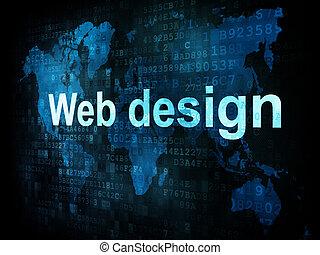 informática, él, concept:, pixelated, palabras, diseño telaraña, en, digital, pantalla, 3d, render