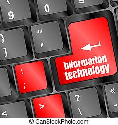 informática, botón, en, ordenador teclado, llave
