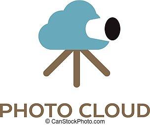 informática, foto, creativo, logotipo, nube, nube