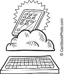 informática, nube, bosquejo