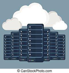 informática, nube, data-center, servidores, concepto