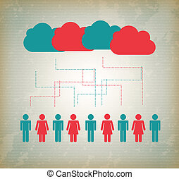 informática, nube, gente