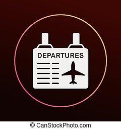 informação, aeroporto, tábua, ícone