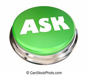 informação, ajuda, adquira, inquirir, botão, pergunta, animação, perguntar, 3d
