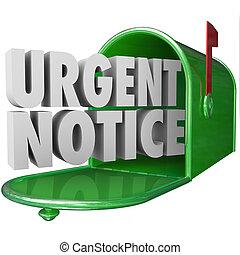 informação, aviso, urgente, crítico, mailbo, correio, ...