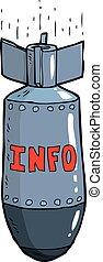 informação, bomba, caricatura