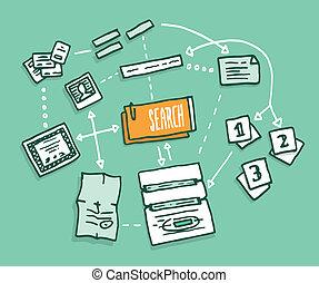 informação, busca, algorithm, reunião, digital, dados