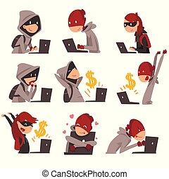 informação, computador, hackers, dinheiro, roubando, ilustração, laptop, vetorial, crime, máscaras, internet, cobrança, usando, segurança, tecnologia