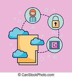 informação, computando, sistema, conectado, arquivador, tecnologia, nuvem