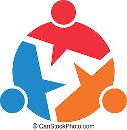 informação, conceito, image., pessoas, 3, chamada, trabalho equipe, saída