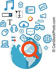 informação, conceito, magnificar, procurar, vidro